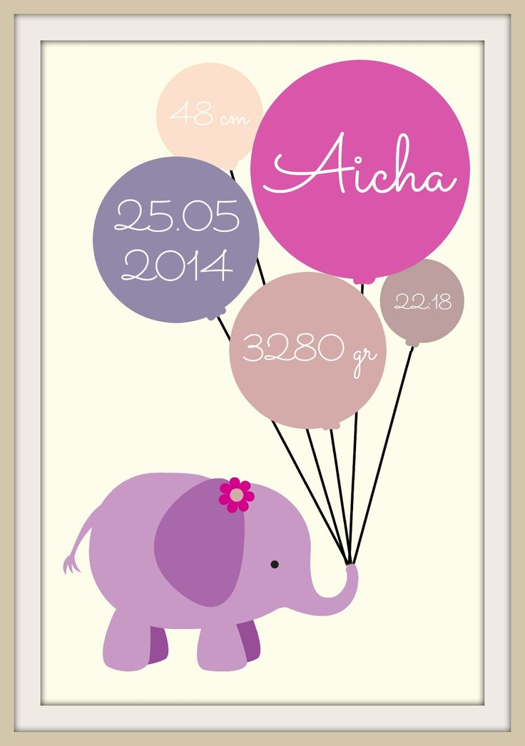 Elefant fødselstavle - Aicha (30x40)