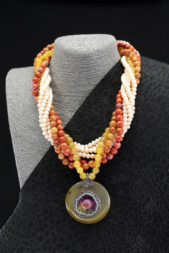 Tourmaline  Stone Centered Agate Medallion Necklace Multi