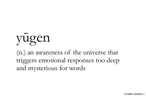 (n.) an awarness of the universe that triggers emotional responses too deep and mysterious for words
