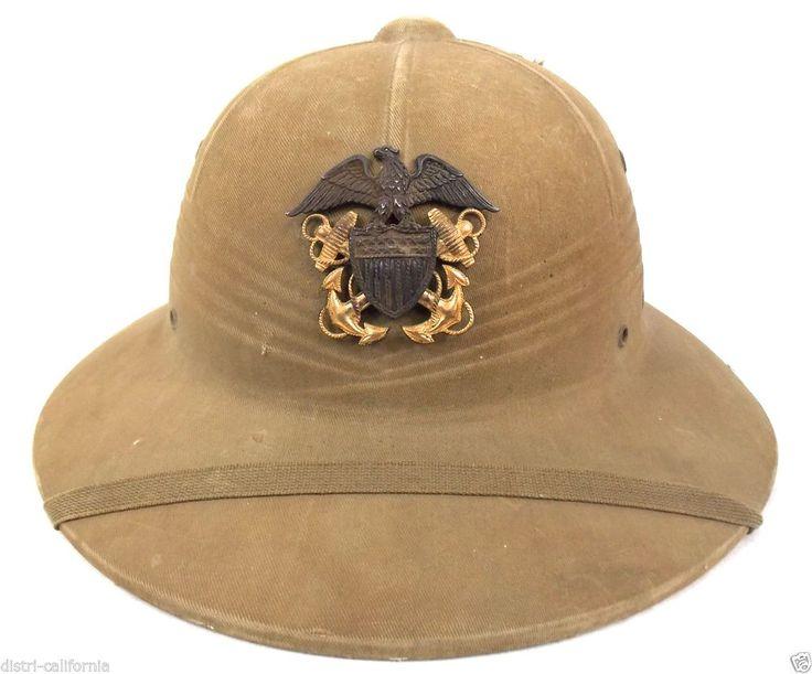 WW2 Casque militaire Américain Pith date 1943 insigne U.S Navy Or / Argent