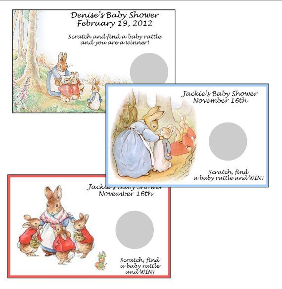 Personalized Peter Rabbit, Nursery Story Baby Shower Scratch off game - set of 6 tickets