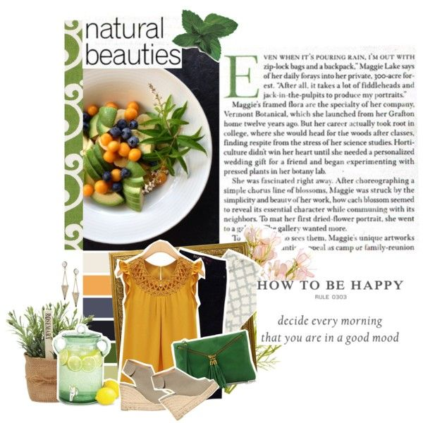Morning fruit by beachan on Polyvore featuring GUESS, Castañer, Tuscany Leather, DwellStudio and Serena & Lily