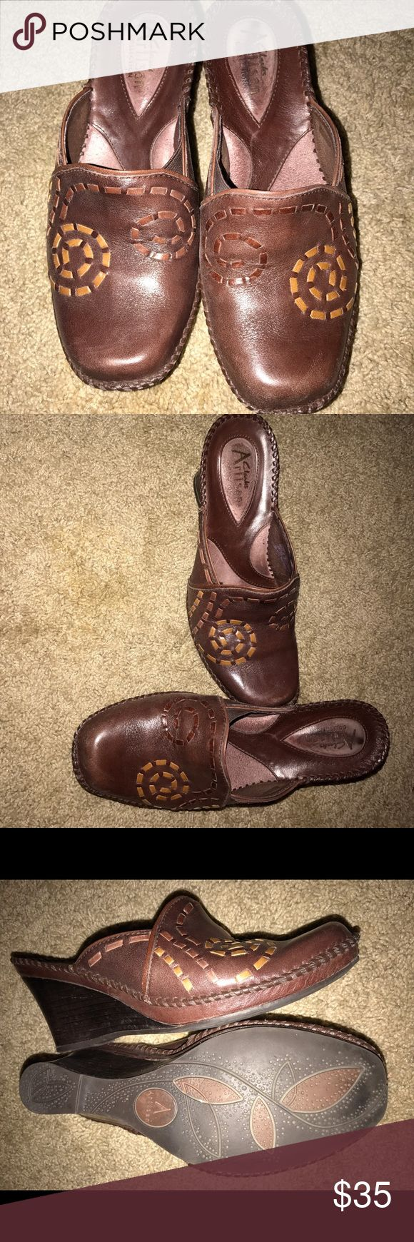 Women's mules slip on artisan Clarks heels Worn once. Minimal wear on heels. Tiny scratches on toes. Clarks Shoes Mules & Clogs