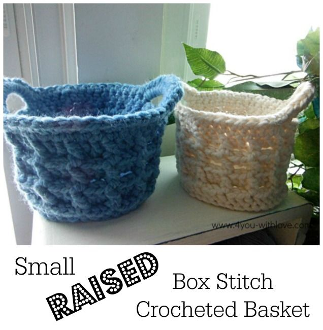 Small Raised Box Stitch Crochet Basket ~ free pattern ༺✿Teresa Restegui http://www.pinterest.com/teretegui/✿༻