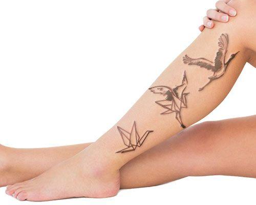 crane tattoo on shin: