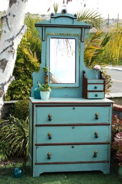 old blue painted dresser