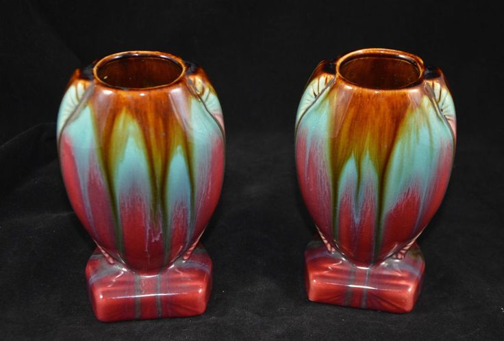 Pair Antique THULIN Belgian Drip Glaze Art Pottery Vases 1900s
