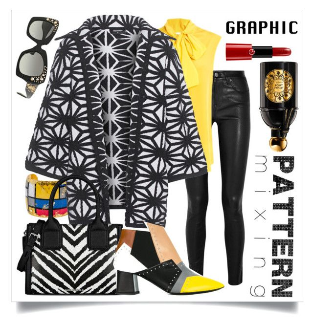 """Graphic Pattern MIx"" by capricat ❤ liked on Polyvore featuring Helmut Lang, Évocateur, Moschino, Dsquared2, Karl Lagerfeld, Pollini, Versace, Guerlain and Giorgio Armani"