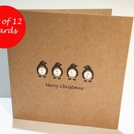 Set of 12 cards. These four cute hand drawn penguins with white button tummies m…