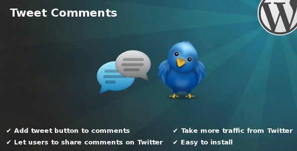 "Tweet Comments   http://codecanyon.net/item/tweet-comments/2006884?ref=damiamio       The plugin name is self-explanatory. Once activated plugin adds ""Tweet"" button to each comment on your WordPress website. This plugin gives your users an option to share really interesting and informative comments on Twitter. Nice tool to increase traffic from microblogging service.  Features   Add Tweet button to comments: let users to share comments on Twitter.  Take traffic from Twitter: get more shares…"
