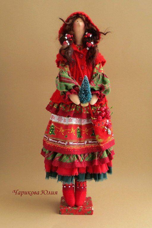 Тильды Юлии Чариковой - Christmas red riding hood doll with layered skirt - good colours and textures