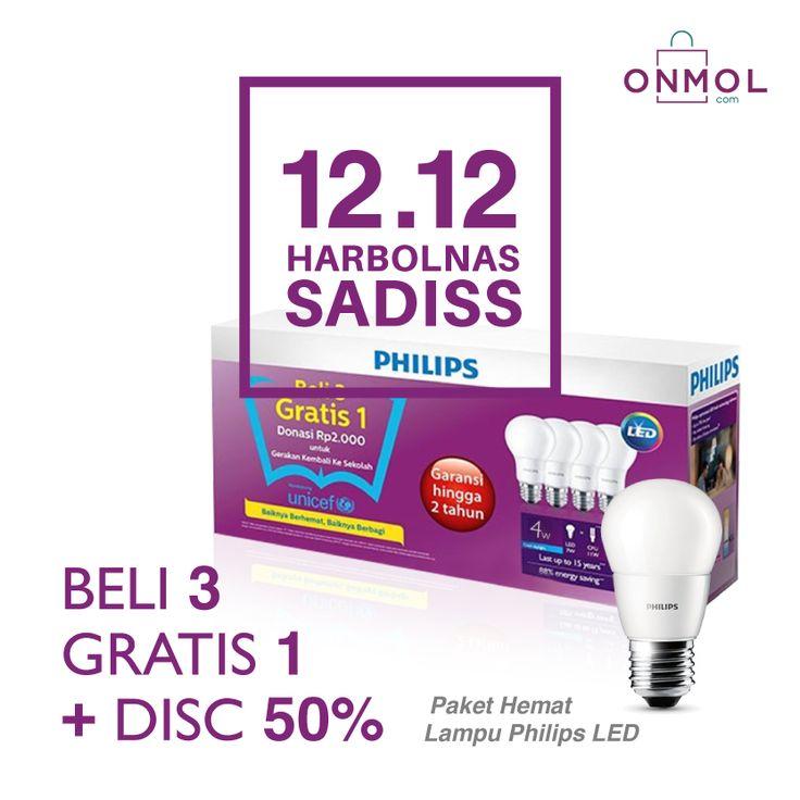 Harbolnas di OnMol belum berakhir lho! Beli 3 Lampu Philips LED di OnMol, udah GRATIS 1 Lampu, dapat Diskon 50% Lagi! Kapan lagi bisa begini? Yuk, nikmati penawaran menarik ini sekarang juga. ... #OnMolID #onlineshop #belanjaonline #harbolnas #elektrikal