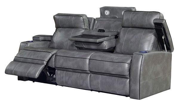 Leather Power Reclining Theater Sofa With Power Headrests Power Recliners Recliner Theater Sofa