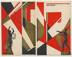 Art Deco  2 superbe cartes homme noir et femme noire dansant Dessins geometriques Dos non CP | For sale on Delcampe