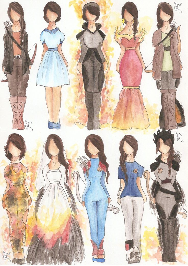 Katniss Clothing | Clothing worn by Katniss during the trilogy: The Hunger Games, Catching Fire, Mockingjay. | Drawings | VIANADRAWINGS