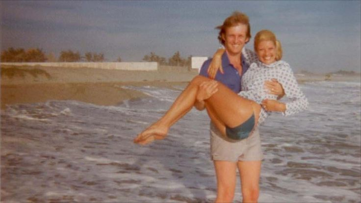 Donald and Ivana Trump on the beach