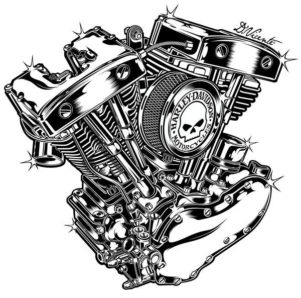 Harley Davidson Motor Clip Art on Harley Motorcycle Engine Drawing