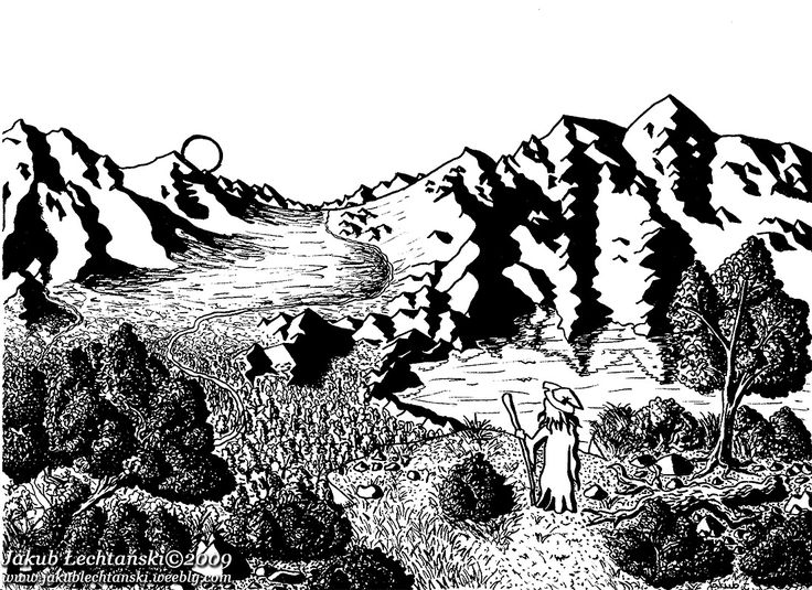 """Rysunek """"Wschód słońca"""". Landscape with sunrise and wizard. One of my first drawings. 2009"""