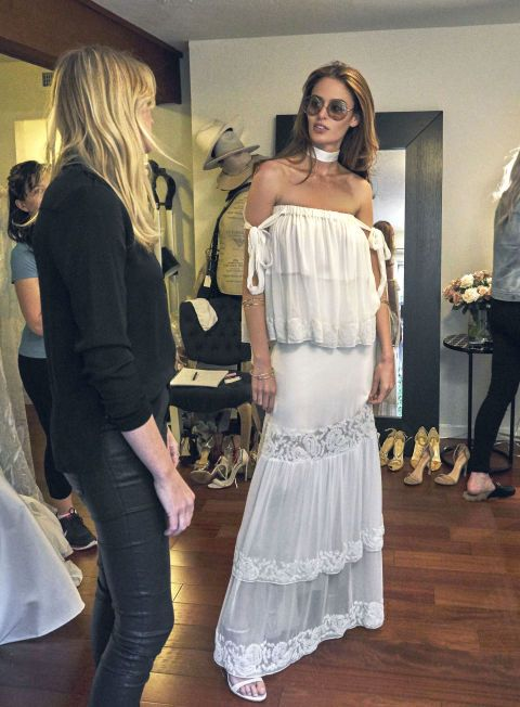 """Australian model Nicole Trunfio is stunning for her Coachella wedding weekend in this HOUGHTON Spring / Summer 2016 set: """"Talia"""" off the shoulder silk georgette top with hand embroidered paisley trim and matching """"Vonde"""" tiered skirt. Nicole marries longtime love Gary Clark Jr. this weekend on the anniversary of their first meeting in Coachella."""