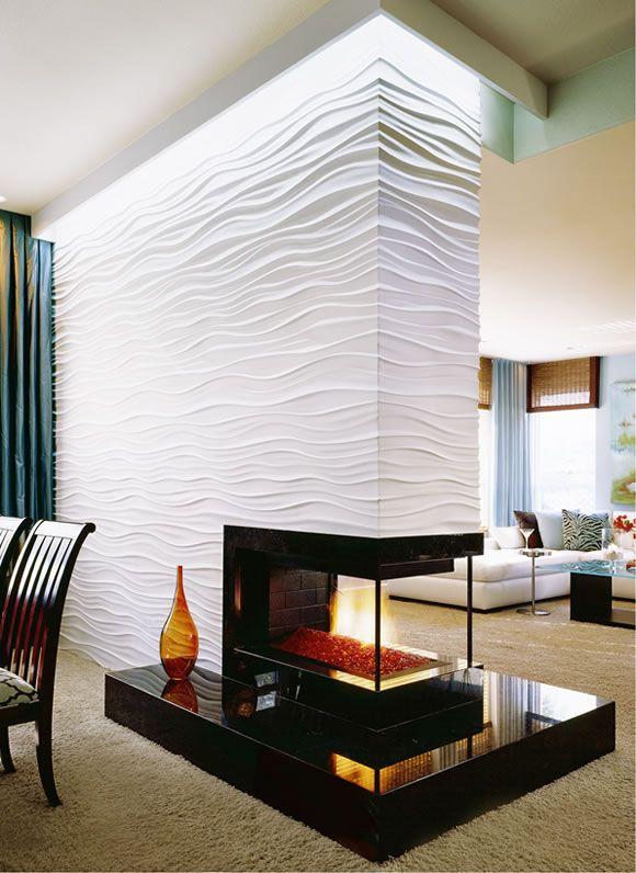 quando isso é possível... fica lindo e especial a lareira integrando ambientes. Textured Wall and Fire Pit - beautiful.