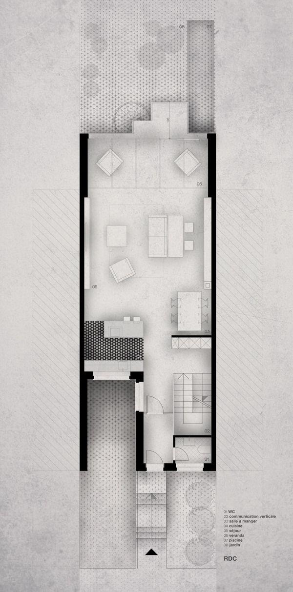Ljiljana Škrobot - Maison A, Plan.  I like the minimalist style with subtle shading and textures!