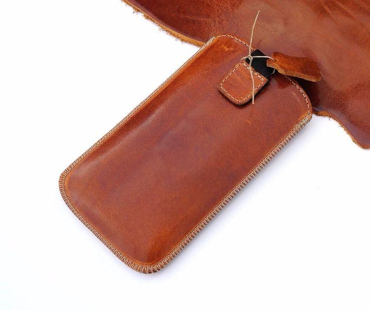 Echt Leder  Handytasche, Pull UP Pocket Schutz Cover, Cognac | eBay