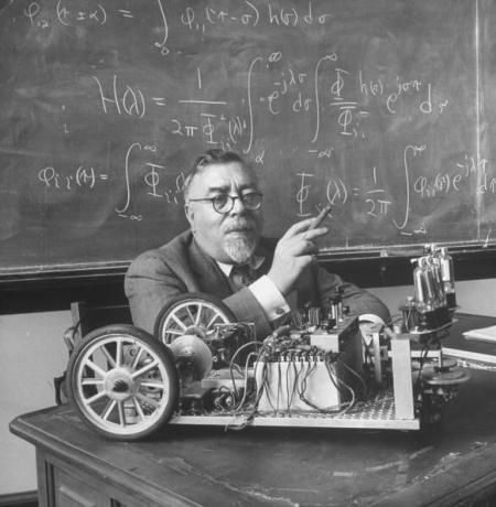 Norbert Wiener (1894 – 1964) was an American mathematician and philosopher, founder of cybernetics. A famous child prodigy, Wiener later became an early researcher in stochastic and noise processes, contributing work relevant to electronic engineering, electronic communication, and control systems.