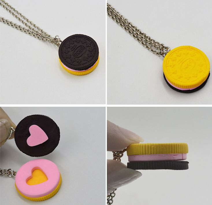 2pcs/set Resin Black Chocolate Cookie Necklace Puzzle Food Design for BFF