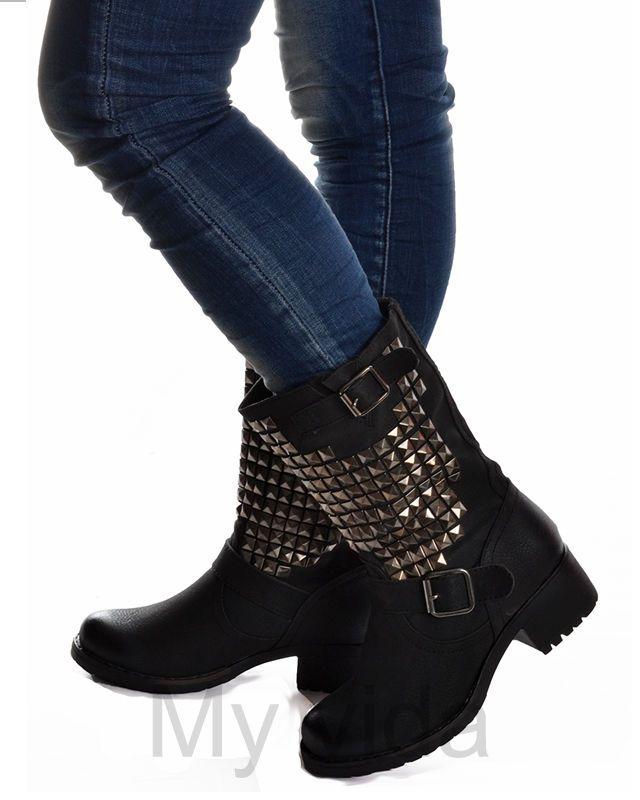Scarpe donna stivali stivaletti anfibi biker con borchie mod B9 in Abbigliamento e accessori, Donna: scarpe, Stivali e stivaletti | eBay
