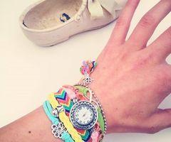 Clok Time! | via Facebook  #accessoriesmaria #bracelets #jewelry #accessories  #jewels #pretty #colorful #gold #friendship #infinite #clock