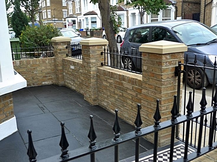 dulwich and east dulwich victorian black and white mosaic tile path london stock brick garden wall rails and gate small victorian front garden ideas cool
