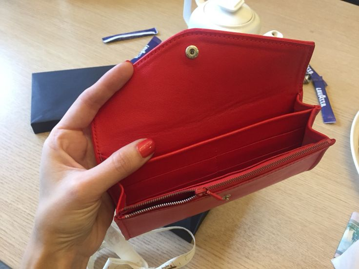 red leather handcrafted wallet