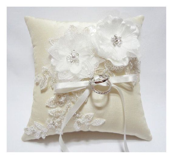 Wedding ring pillow - Cream satin organza blossom on ivory silk dupioni pillow, ring bearer pillow