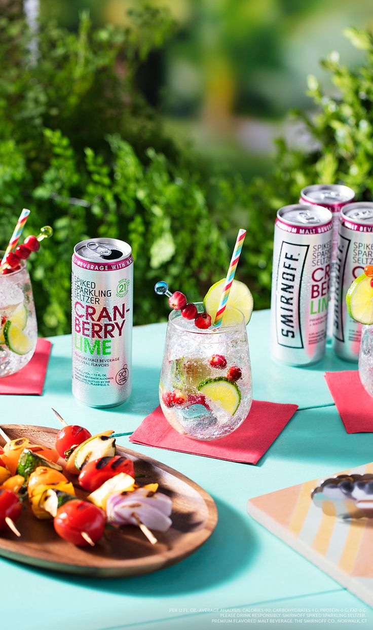 Cranberry Lime Smirnoff Spiked Sparkling Seltzers are the perfect compliment to all your cookouts and BBQ weekends. Pour one over ice and garnish with lime and cranberries for even more delicious flavor! Only 90 calories and zero sugar. To find where to buy Smirnoff Spiked Sparkling Seltzer, visit http://www.smirnoff.com/en-us/where-to-buy/