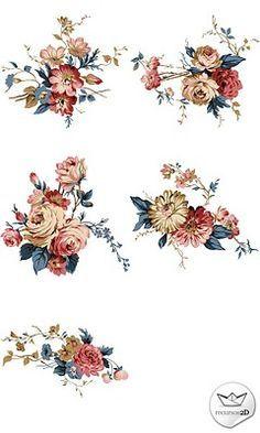 vintage looking flower tattoos - Google Search