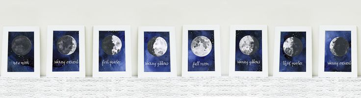 Moon Phases Print Collection. This print set includes: Full Moon, Waxing and Waning Gibbous, First and Second Quarter and New Moon This set is totally gorgeous as a collection, and fits wonderfully above a bed and provides a relaxing atmosphere to drift off to sleep.