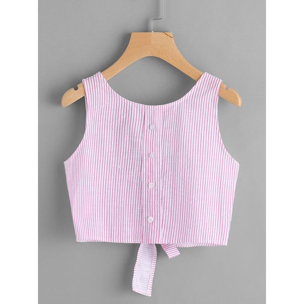 SheIn(sheinside) Vertical Striped Open Back Bow Tie Crop Tank Top (125 MXN) ❤ liked on Polyvore featuring tops, pink, cropped tank top, cropped tops, crop tank, cami tank tops and striped crop tops