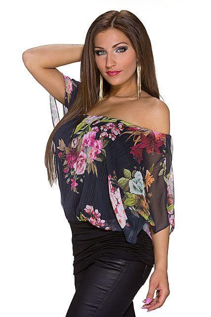 Blusa camiseta estampado floral multicolor cuello barco media manga ajustado en la cintura   Negro, Rosa Fucsia/Multicolor   Moda Fashion