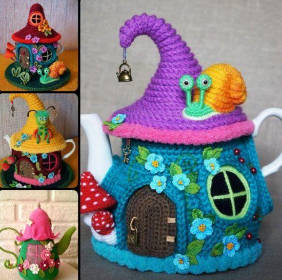 Crochet-Tea-Kettle-Fairy-House-Cover-with-Free-Pattern-550x546.jpg (550×546)