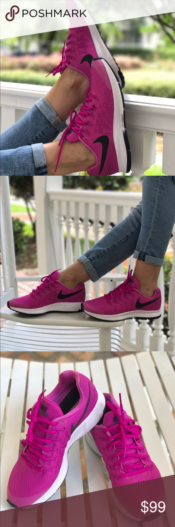 NWT Nike ID Zoom Pegasus 33 W, size 8,5 Brand new, no box. Price is firm. No trades. Upper: Engineered mesh with inner sleeve, Flywire cord based lacing. Midsole: Compression molded EVA foam, heel and forefoot Zoom Air bags. Outsole:Hard-wearing carbon rubber throughout. Nike Shoes Sneakers