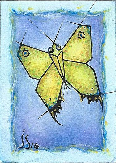 ACEO Original Hand Painted NOT A PRINT-Yellow Butterfly-Signed-Miniature Art #Abstract