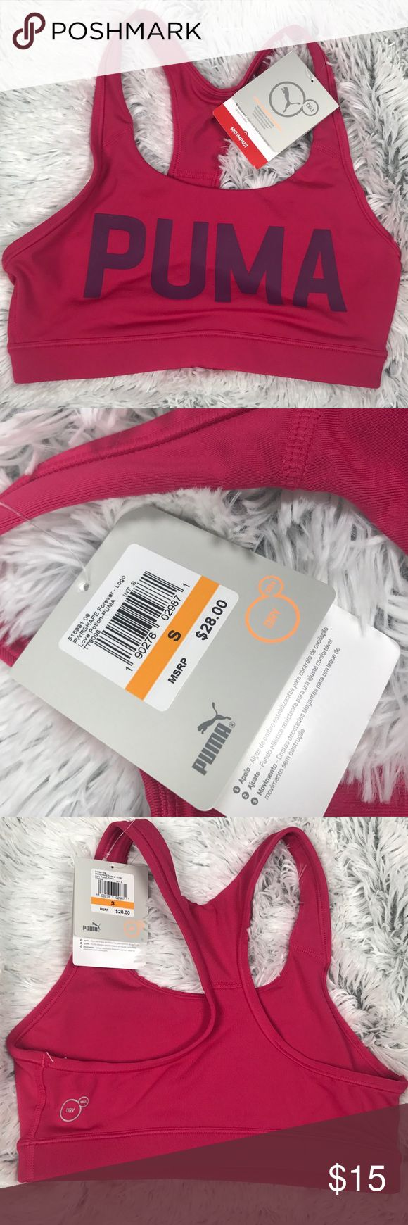NWT! Puma Pink Cat Dry Cell sports bra Pink Puma bra with Cat logo across front. New with tags. Puma Intimates & Sleepwear Bras