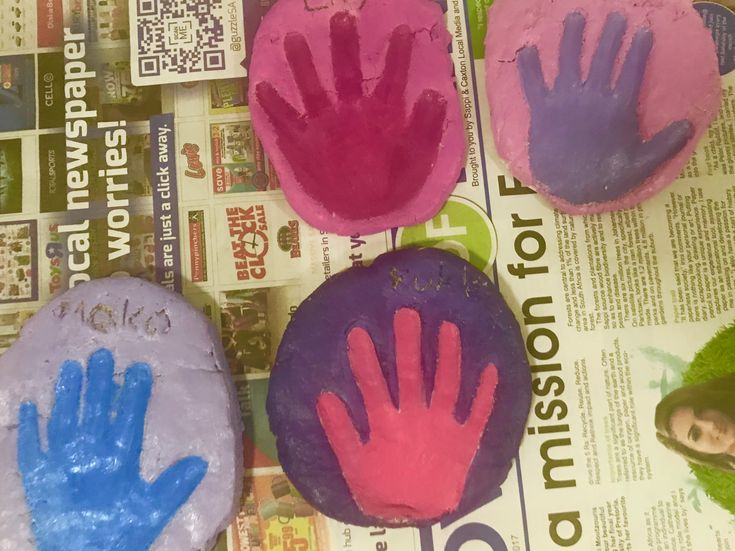Hand prints with salt dough