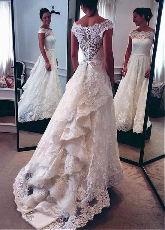 Elegant Tulle & Satin Off-the-shoulder Neckline A-line Wedding Dresses With Lace Appliques