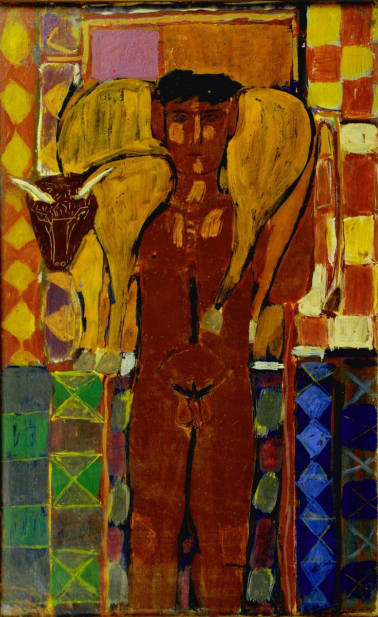 "Butcher, 69,5x43, circa 1954 by Cosmas Xenakis. Fotini Xenakis writes: ""My father died suddenly in 1984, when he was 59 years old, while a show of his latest paintings was still on. Since then, his work has been largely forgotten. We hope that this retrospective exhibition at the Benaki Museum will show him as he was: a revolutionary, a pioneer, and a multifaceted and innovative artist"""