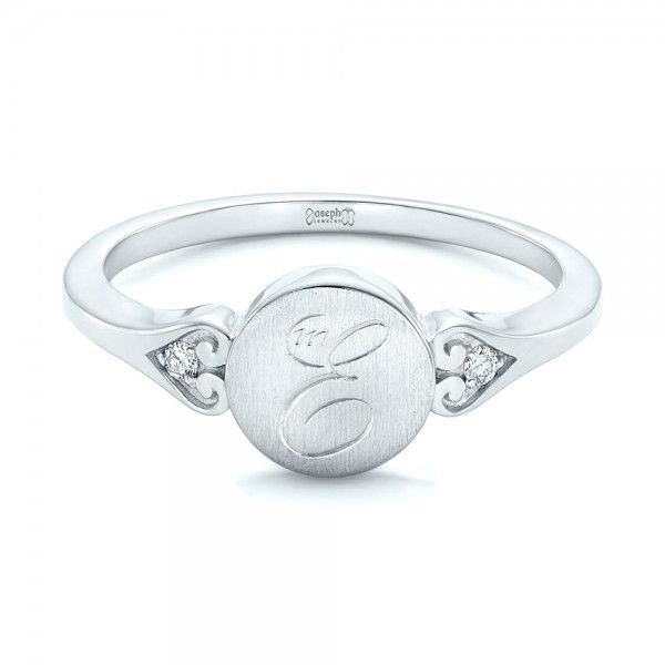 Custom Engraved Diamond Engagement Ring