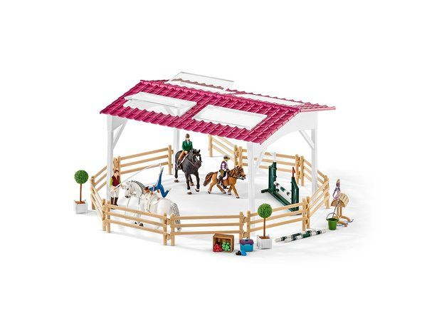 The Riding School with Horse and Riders from the Schleich Horses and Riding collection - Discounts on all Schleich Toys at Wonderland Models.  One of the new items in the Schleich Horse Riding Sets and Accessories range is the Riding School with Horse and Riders.