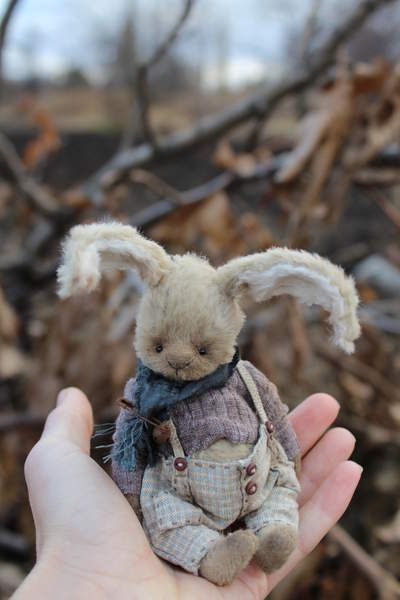 Roger By Moshkina Elena - Roger. Bunny sew viscose inside sawdust and metal granulate. Clothes made of cotton. toned and aged. Height 12 cm bunnies