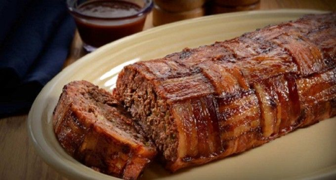 This Bacon Wrapped Meatloaf With A Savory Glaze Baked On Top Is The Best Thing We've Made All Week!