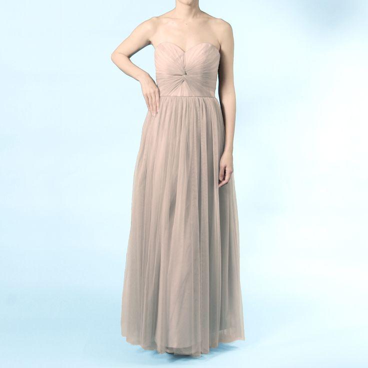 インフィニティロングドレス・ボビネット(モカ)ボビネットならではのエアリーなボリューム感が魅力。 #Bridesmaid #Wedding #Dress #Mocha
